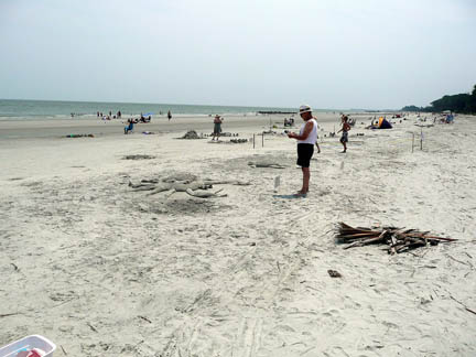 sand sculptures on hunting island beach